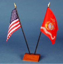 American Desk Flags, high quality with walnut base