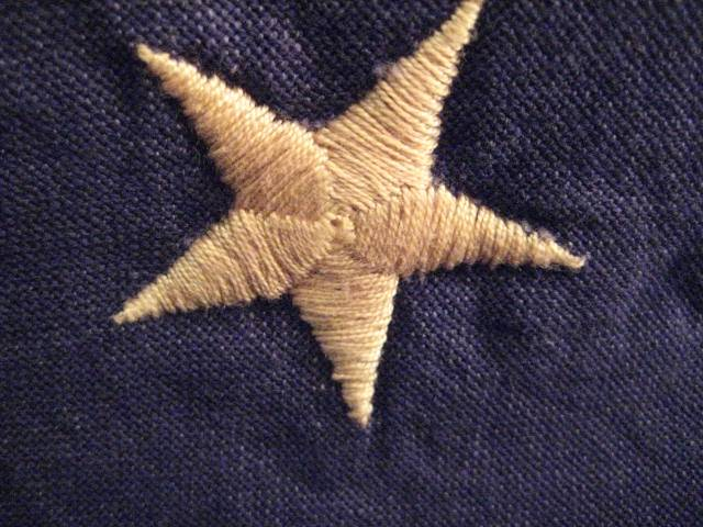 Tea Dyed embroidered Betsy Ross star