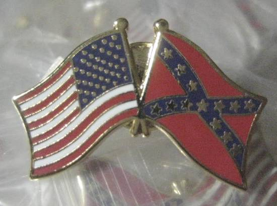 US Flag, Confederate Flag double pin