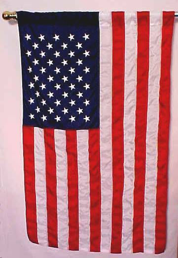 ad3a678eb1f7 Pole inserts through the sleeve. Flag attaches using a slotted leather tab  sewn inside the sleeve. See a closeup picture of it here  American Flag Kits